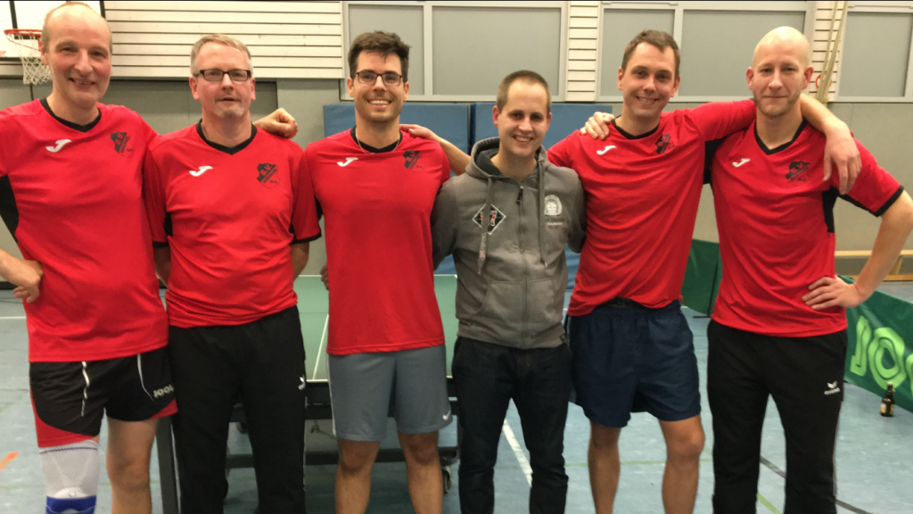 Tischtennis 2. Herren - Andreas Thiele, Guido Braun, David Mieloczinski, Sebastian Dartmann, Mike Brüschin und Henrik Pöppelmeier